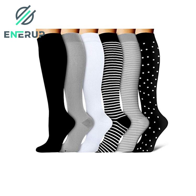 Enerup Heren Sokken Custom Calcetines Personalizados Kaus Kaki Mujer Oem Sports Pressure Sportswear Men Compression Socks