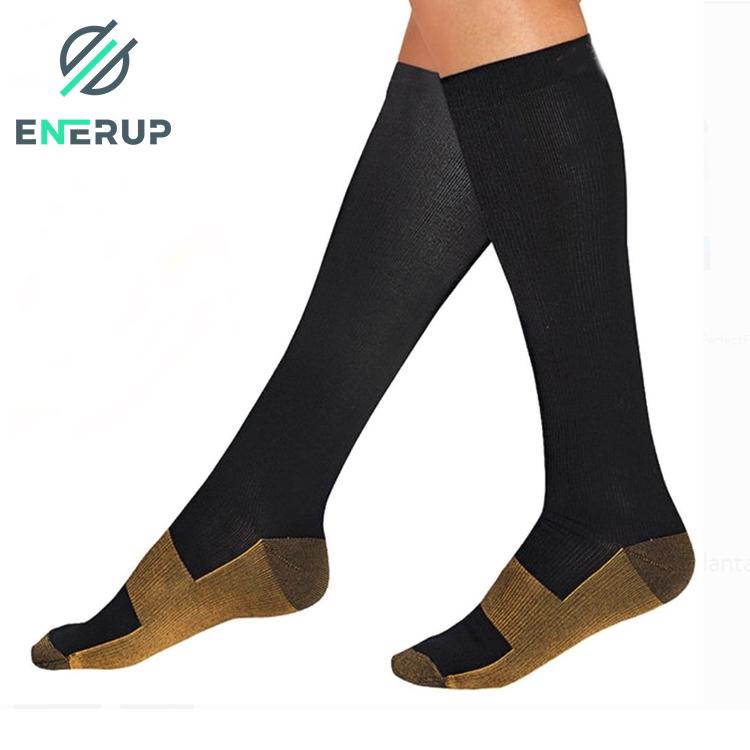 Enerup Erkek Refleksoloji Masaji cOrap Sneaker Wanita Custom Wholesale Running Nurse Copper Compression Socks 15-20 mmhg
