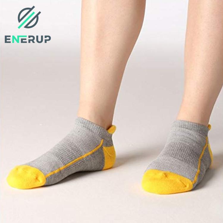 Enerup Custom Printed Logo Ladies Cotton Eco Friendly White Men Ankle Socks Stripes White Gents