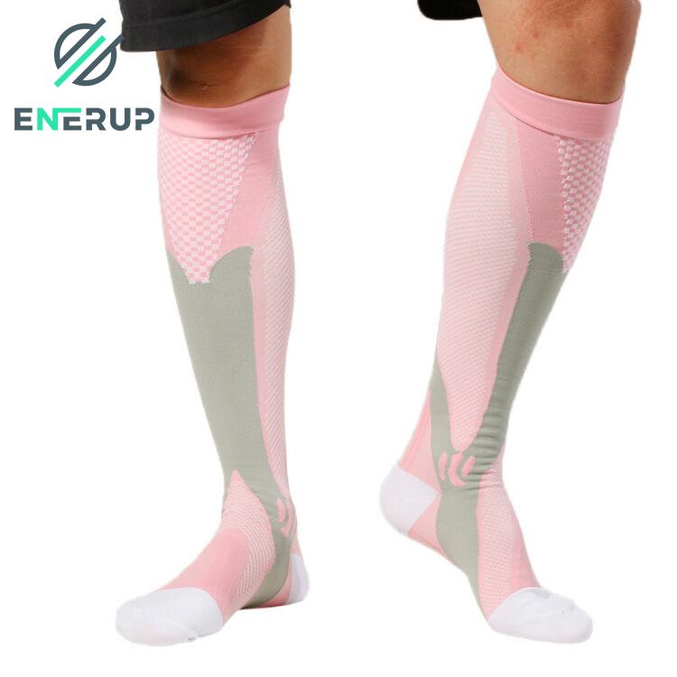 Enerup High Quality Custom Hypoallergenic Foot Sock Graduated Manufacturer Compression Design Sport Socks 20-30mmhg Slip Toe