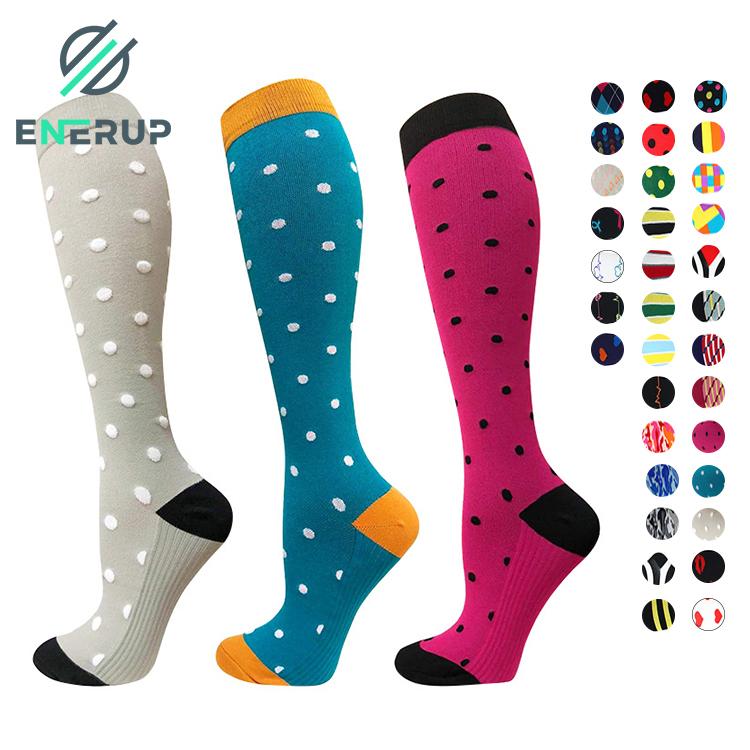 Enerup Chaussettes De Sport Calcetines Sport Colorful Men Women Plantar Fasciitis Compression Nursing Socks 15-20 mmhg