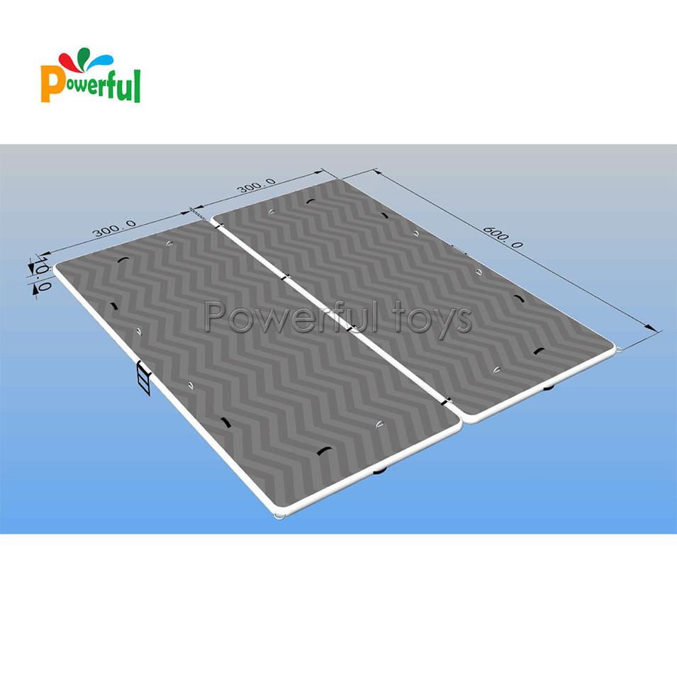 Top quality DWF inflatable water floating dock island platform with nonslip EVA Marine Floor