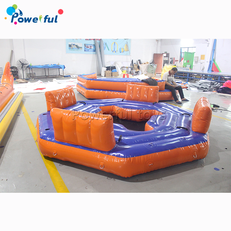 4 Person Tropical Tahiti Inflatable Floating Island For Lake Or Ocean Game