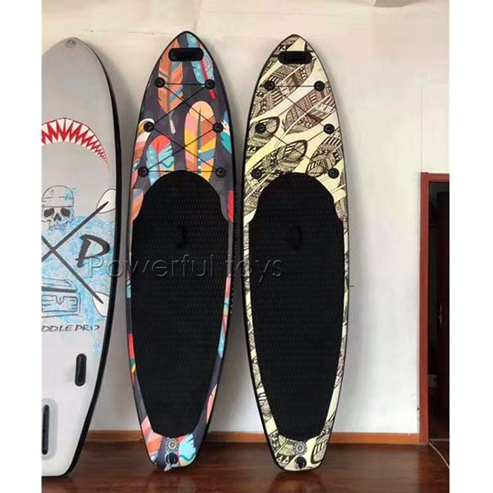 Colorful Pattern Inflatable Stand Up Paddle Board Recreational Rental Board on Water
