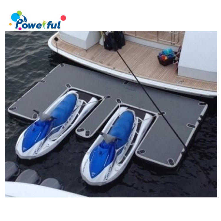 Commercial inflatable floating platform for yacht, sea jet ski dock