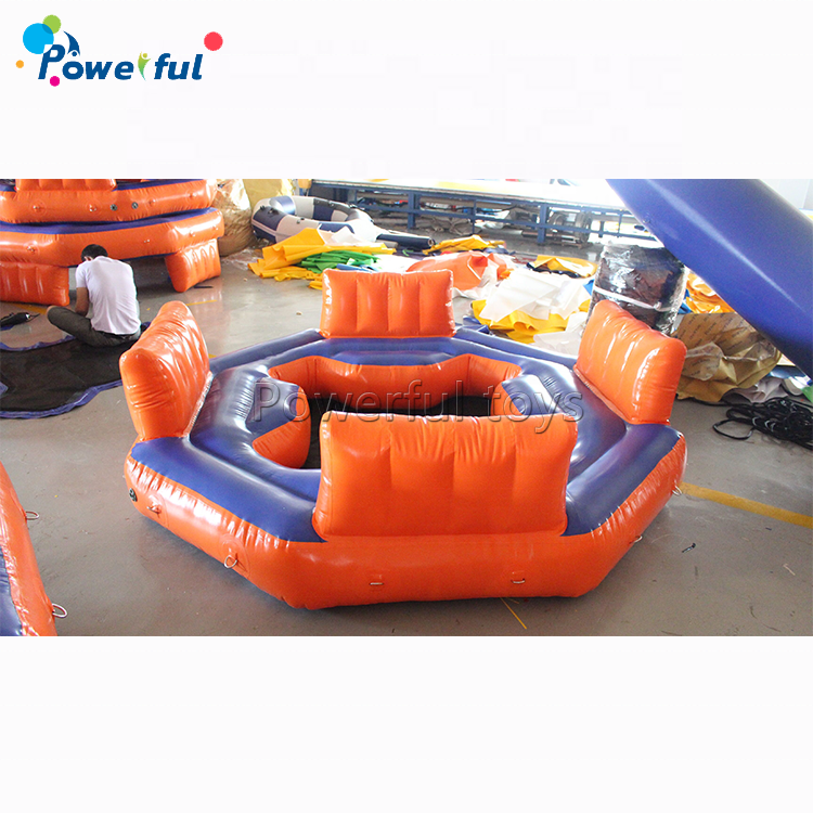 Popular ocean boat island PVC inflatable floating island lake lounger