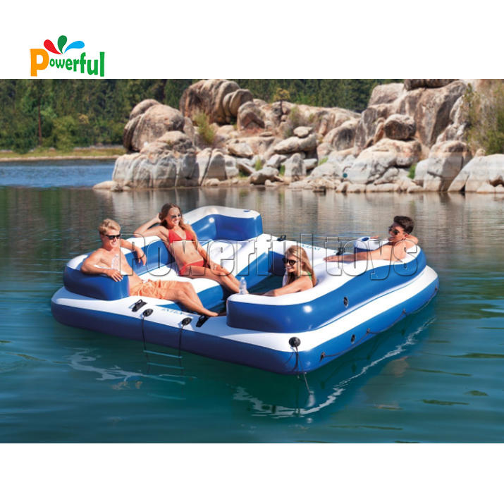 Inflatable Floating Island platform 5 Person Party Boat Raft for Pool Lake River