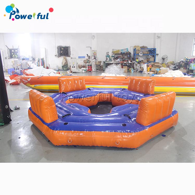 Popular ocean boat island PVC inflatable floating island lake lounger