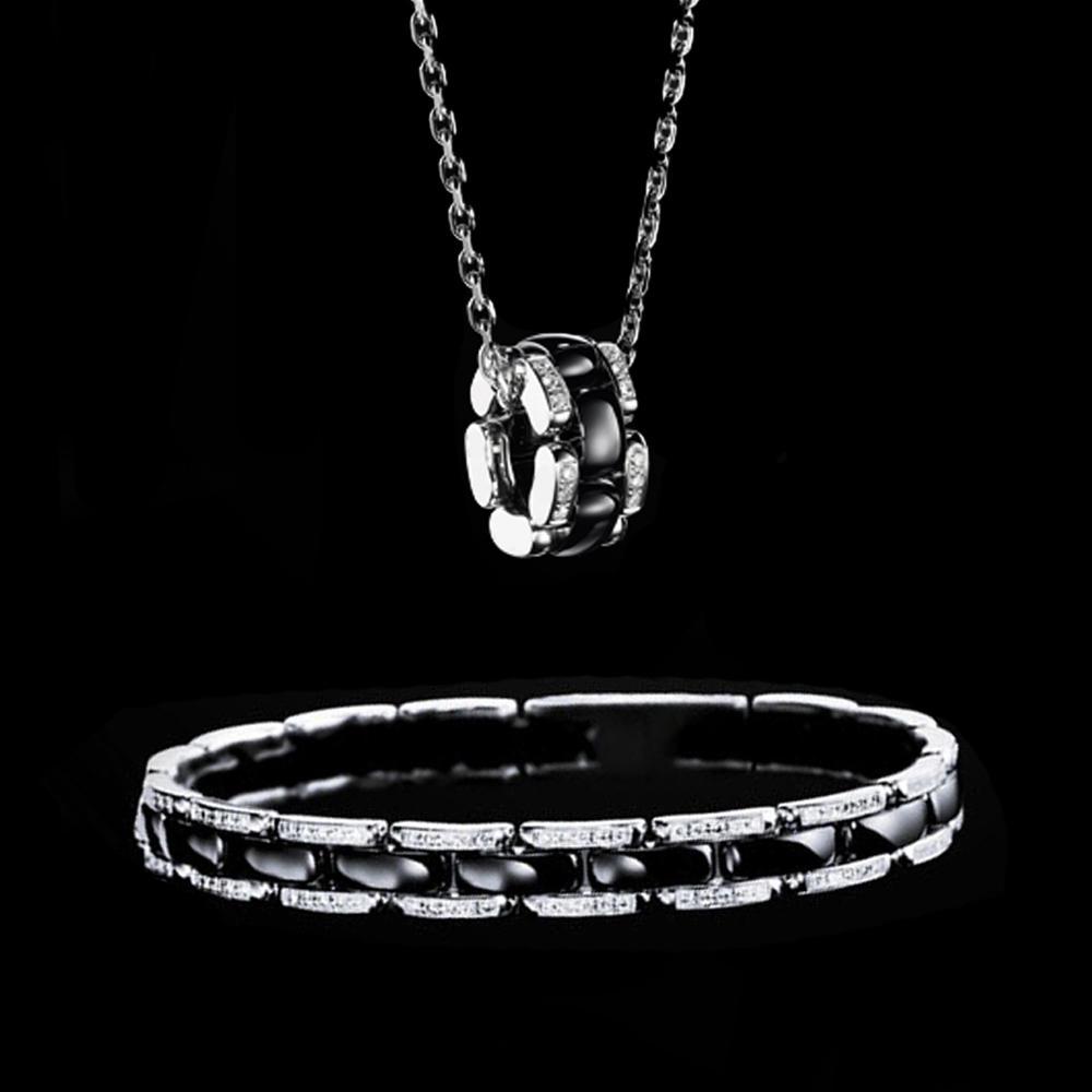 Black Design Wholesale Silver Necklace And Bracelet Set