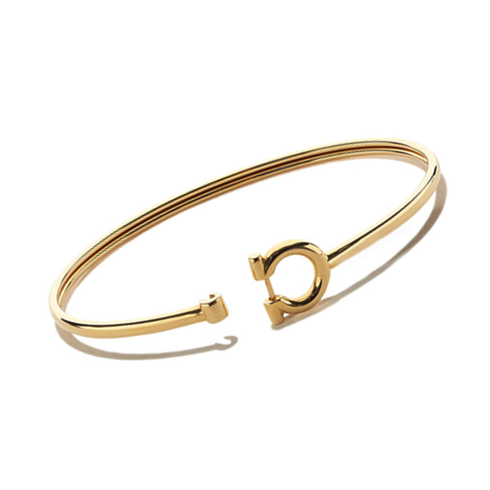 Fashion cheap simple design silver horseshoe bangle