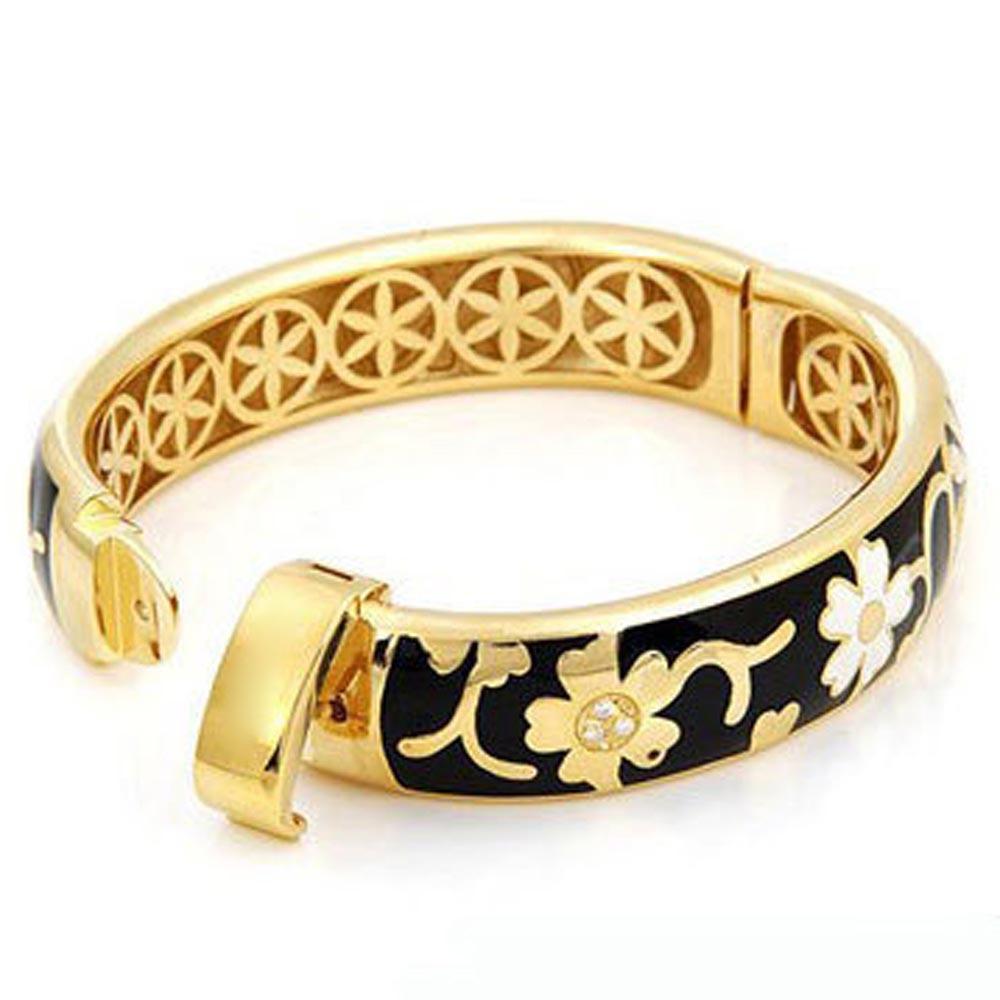 Shiny flower inner clasp latest design 1 gram gold bangles