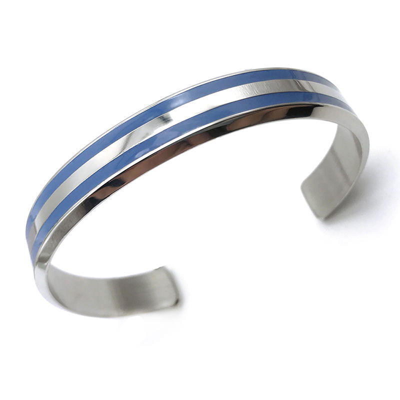 Black Painting Adjustable Size 925 Silver Bracelet For Men
