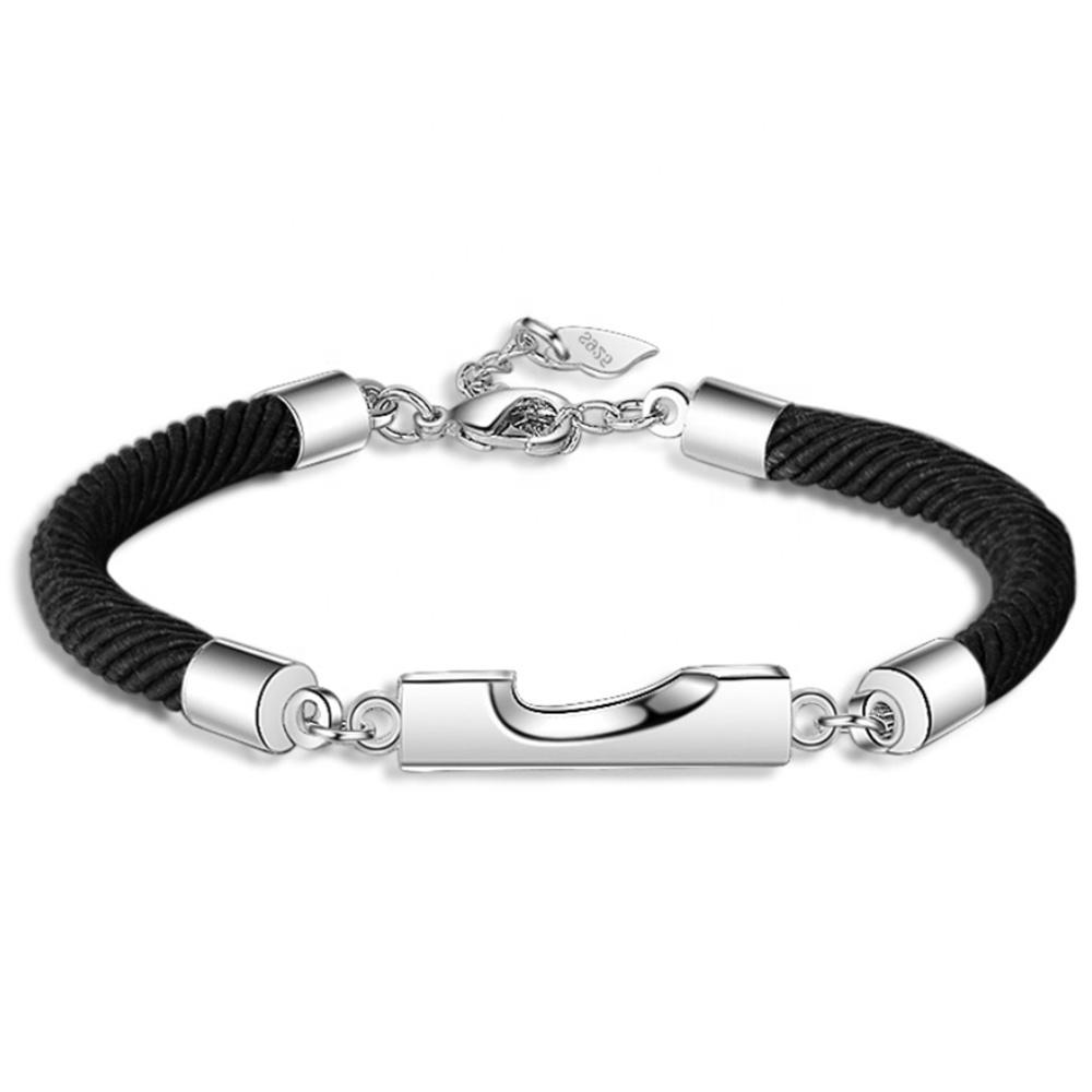 Custom design silver chain leather lock usa bracelet