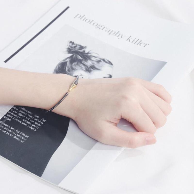 Black Plating Fancy Swan Engraved Men Bracelet Silver Open Style