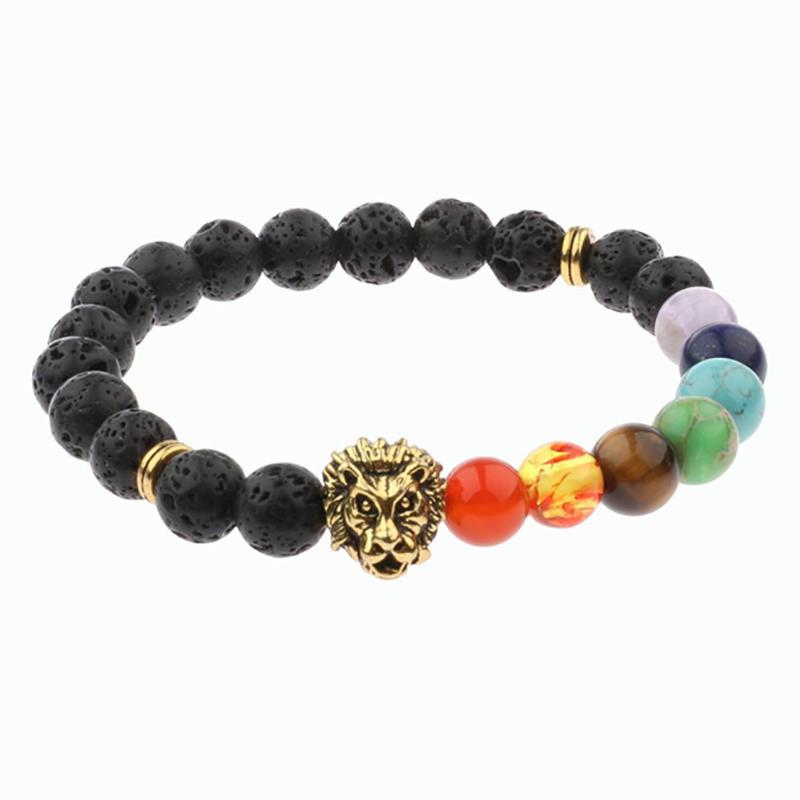 Boutique Buddhism Colored Stone Lion Design Buddha Bracelet