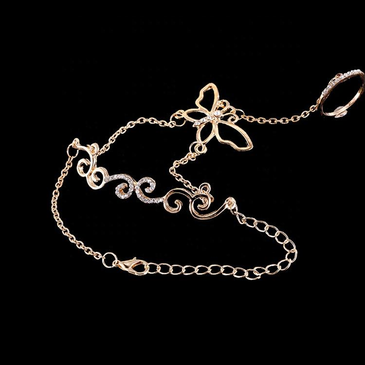 Custom hollow butterfly gold bracelets with ring attached