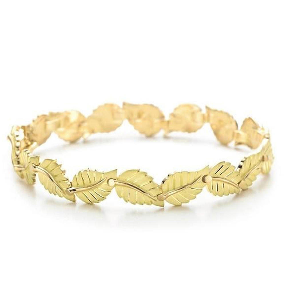 925 Silver Golden Leaf Custom Engraved Metal Bracelet