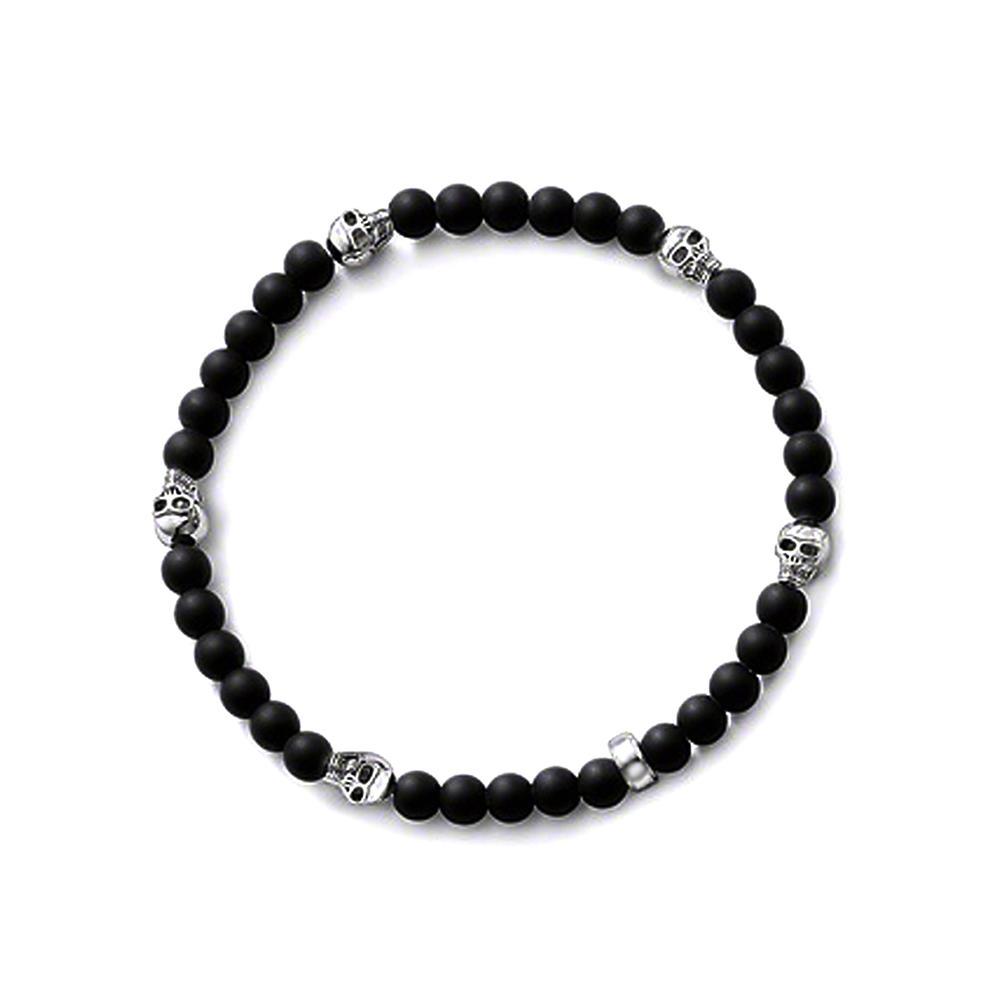 Revolutionary skull design black ceramic beads bracelet