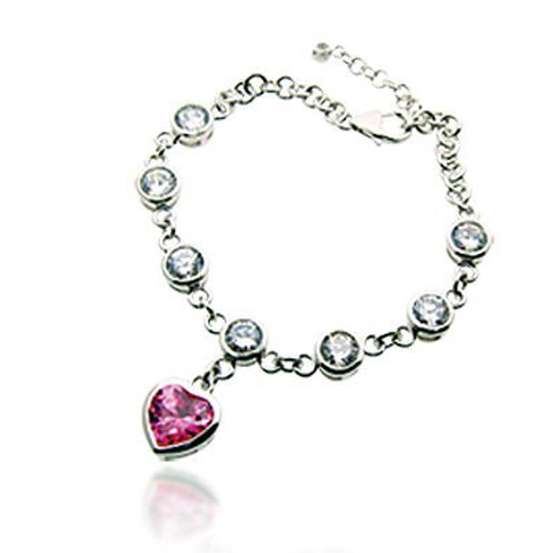 925 silver pink heart homemade crystal beads bracelet