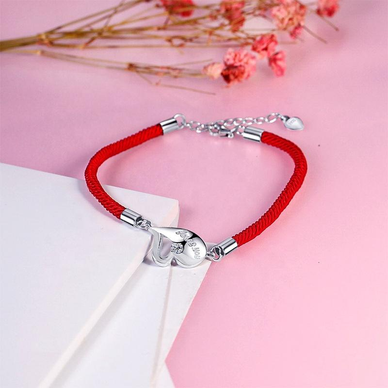 Thin Rope Chain Design Silver Heart Drop Bracelet With Words