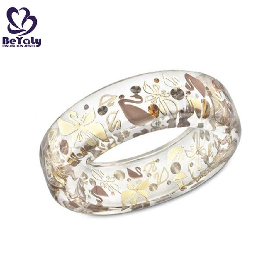 Vogue party jewelry swan drawing resin bangle