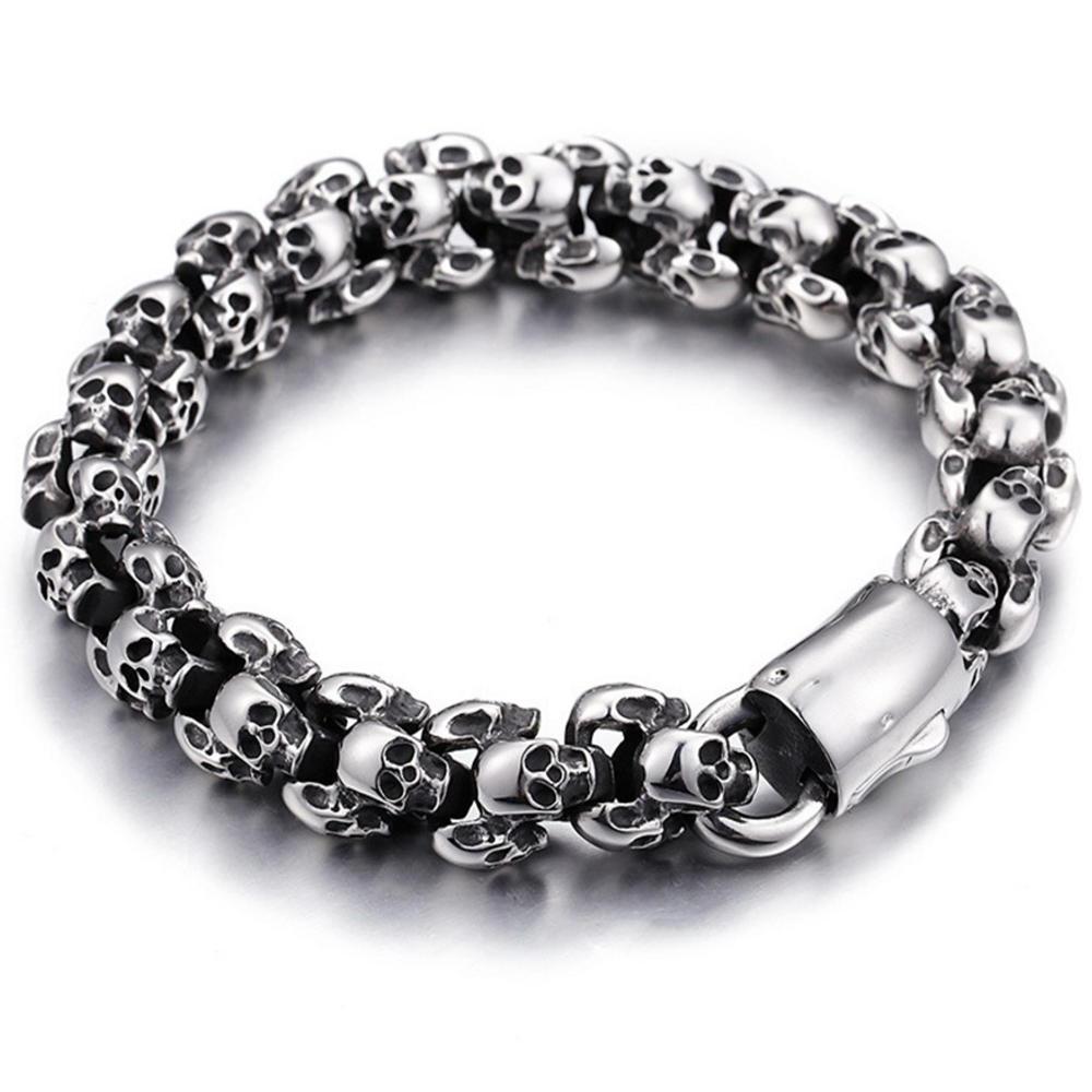 Wholesale men fashion skull engraved silver beads bracelets