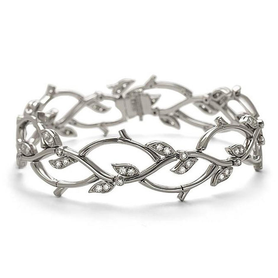 Custom Leaf Cz Ladies Bracelet Fancy Designs New Designs