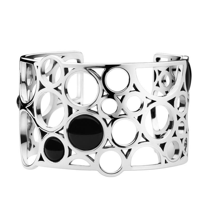 Wide size open-ended natural black gemstone jewelry cuff bracelet