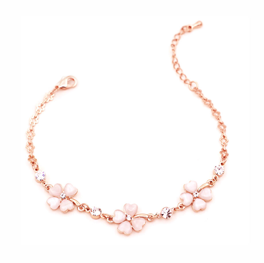 Gold Flower Design Silver 925 Jewelry Custom Print Bracelet