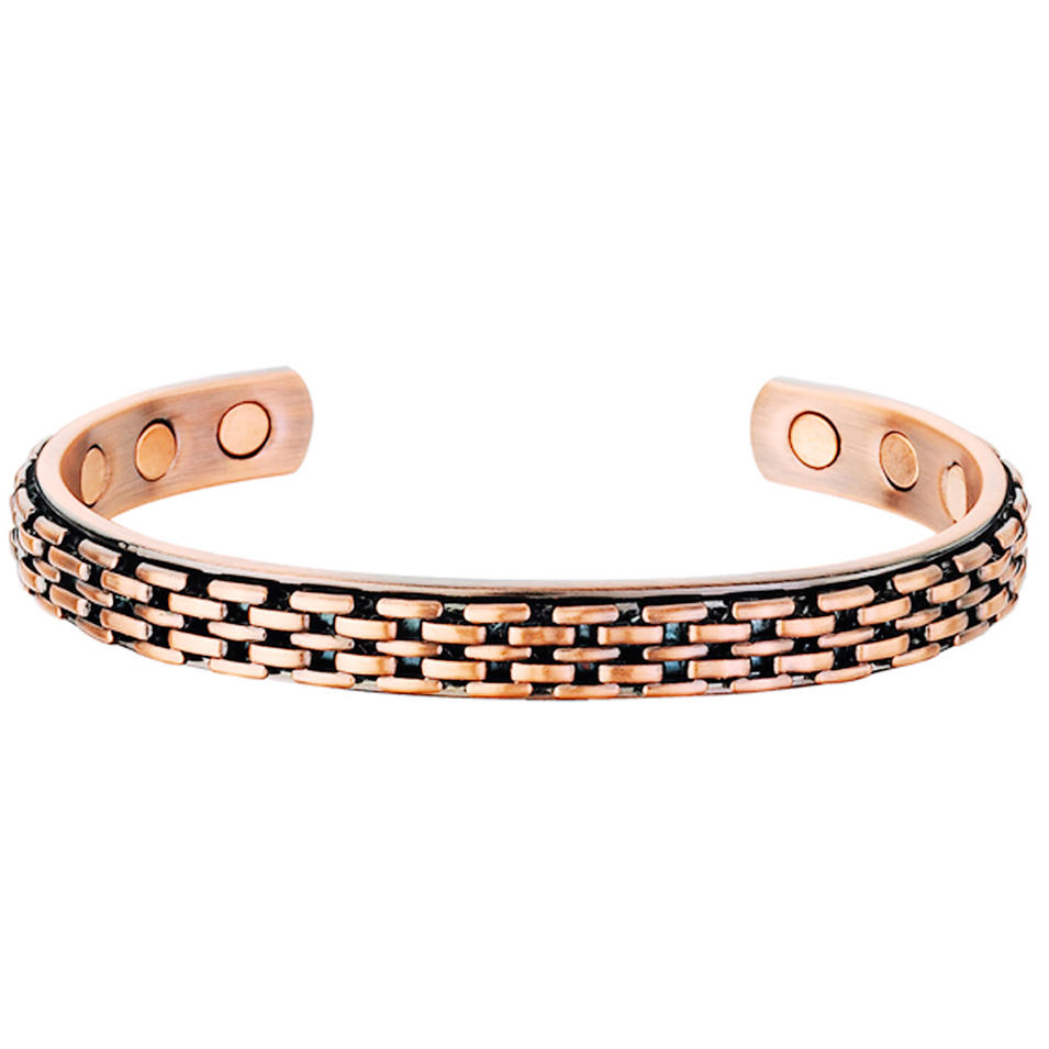 Fashion braided design men gold silver stainless steel magnetic bracelet