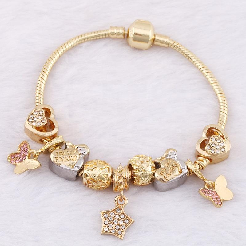 Simple Star Charms Beads Chain Bangles Gold Plated Jewellery