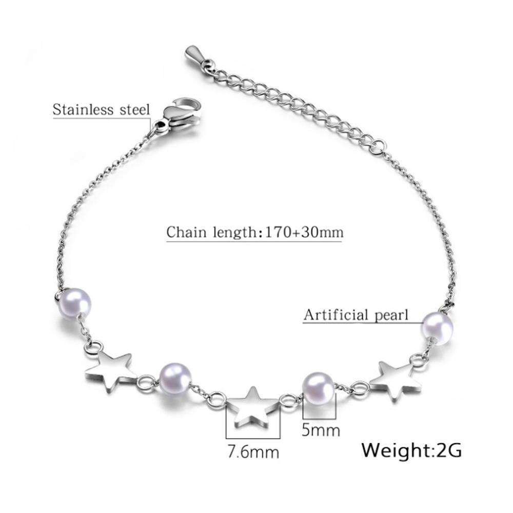 Beauty precious stone star design fashion girl pearl bracelet