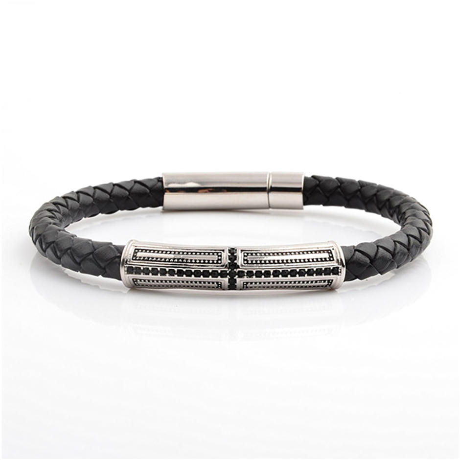 Black leather christian bracelets wholesale with crucifix