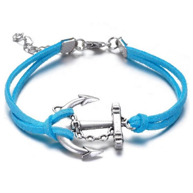 Cheap New Design Silver Anchor Hook Bracelet Leather