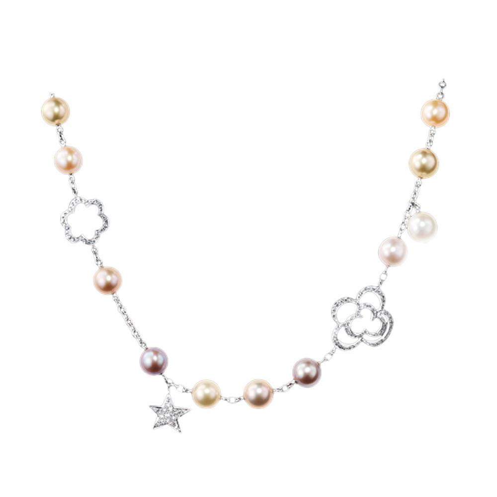 Fashion girls silver chain faux pearl bracelet