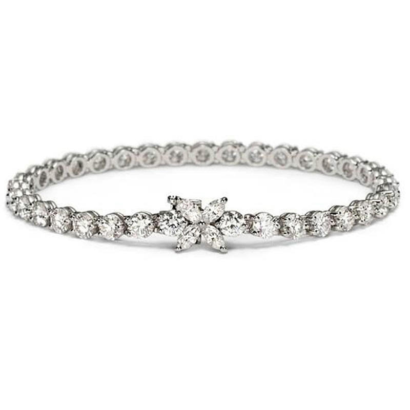 Simple Cz 925 Sterling Silver Cuff Bangle Bracelet Thin Style
