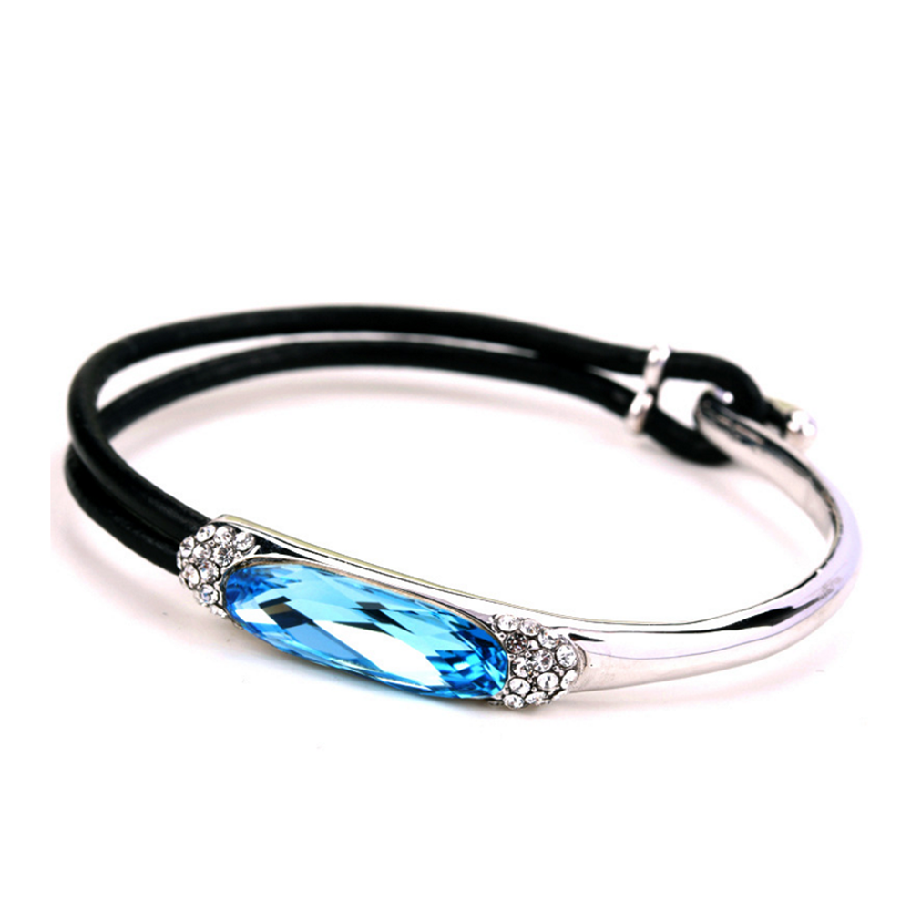 Fashion silver cz setting turquoise and leather bracelet