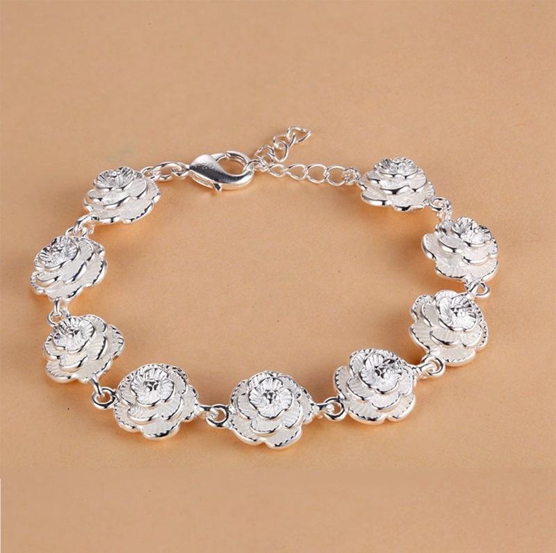 Beauty Rose Flower Bracelet Wedding Souvenirs Silver Jewelry