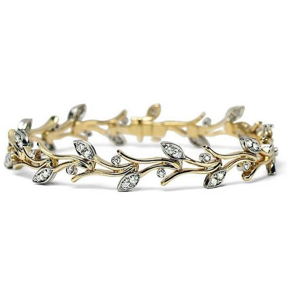 Gold plated leaf design bracelet making parts with cz