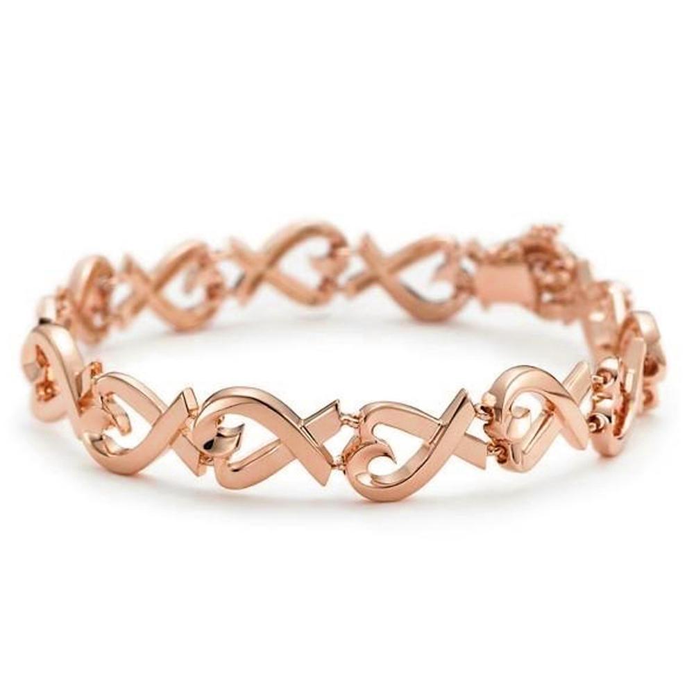 Heart Pendant Special Ring Chain Design 925 Silver Bracelet