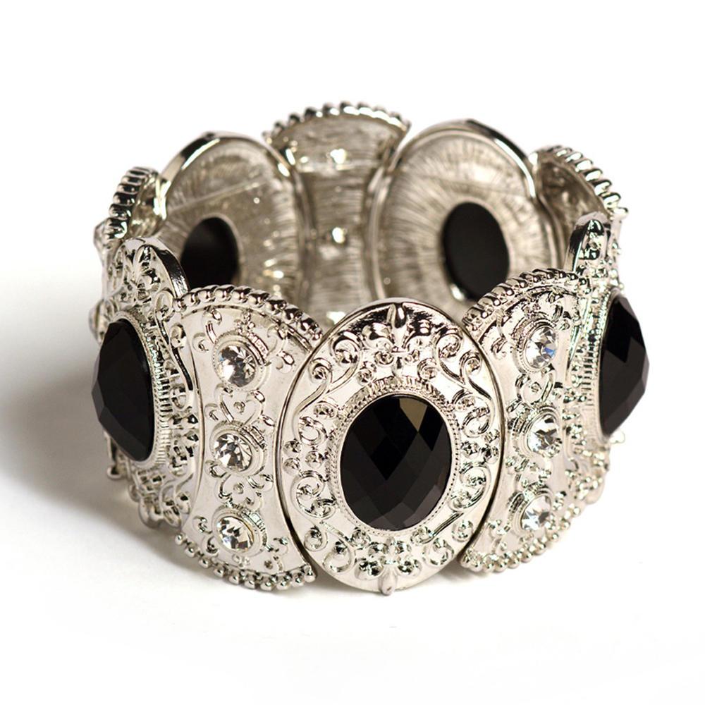 Shiny cz black stone evil-eye zircon bracelet