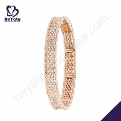 Rose gold color cubic stone silver jewelry bracelet set