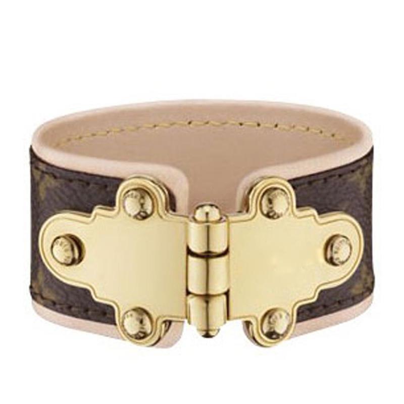 Comfort leather gold color toggle clasp bracelet metal