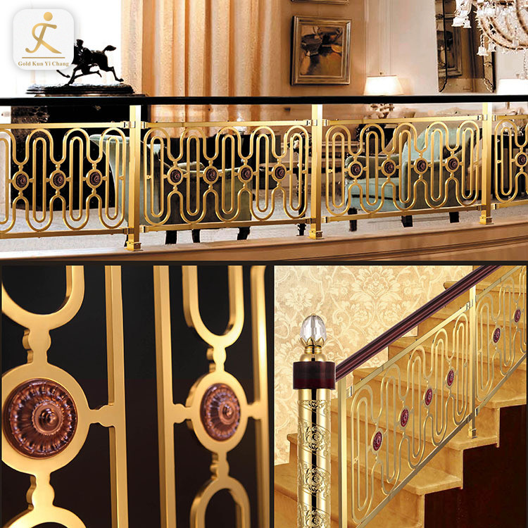 Contemporary Metal Stair Handrail Post Suppliers Gold 304/316 Stainless Steel Handrail Balustrade Stair Railing