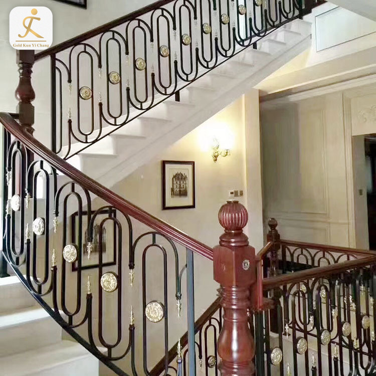 two-story satin finish decorative balusters two-tier indoor curved metal railings steel stair indoor hand railing