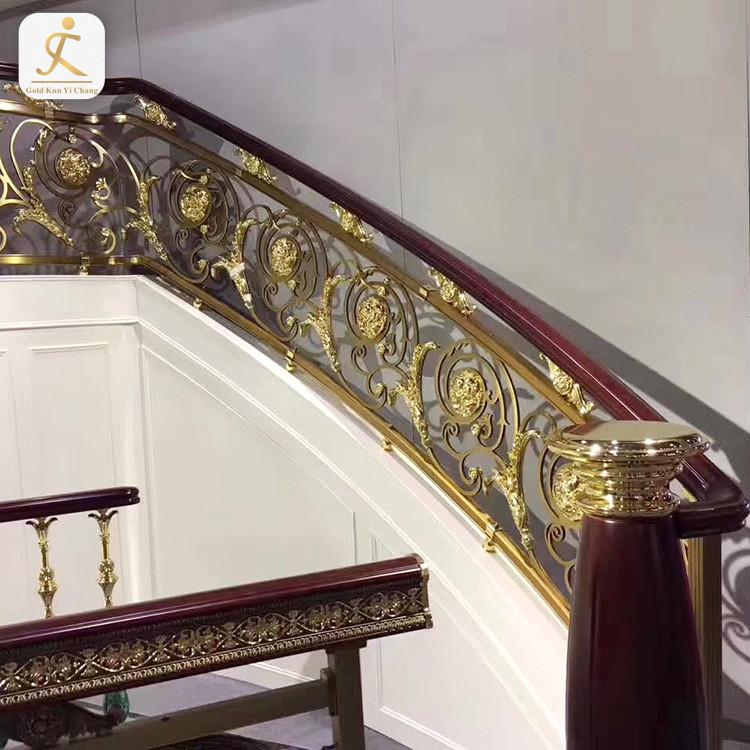 luxury customized modern staircase steel hand railing terrace design half circular staircase handrail