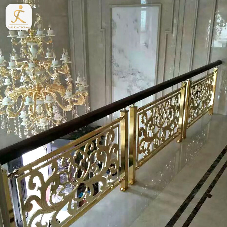 polished finish stainless steel gold balustrade deck balcony stainless steel metal stair balustrade and handrail railing post