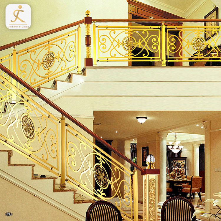gold metal stair handrail stainless steel railing baluster laser cutting metal railing panel indoor prefab staircase railing