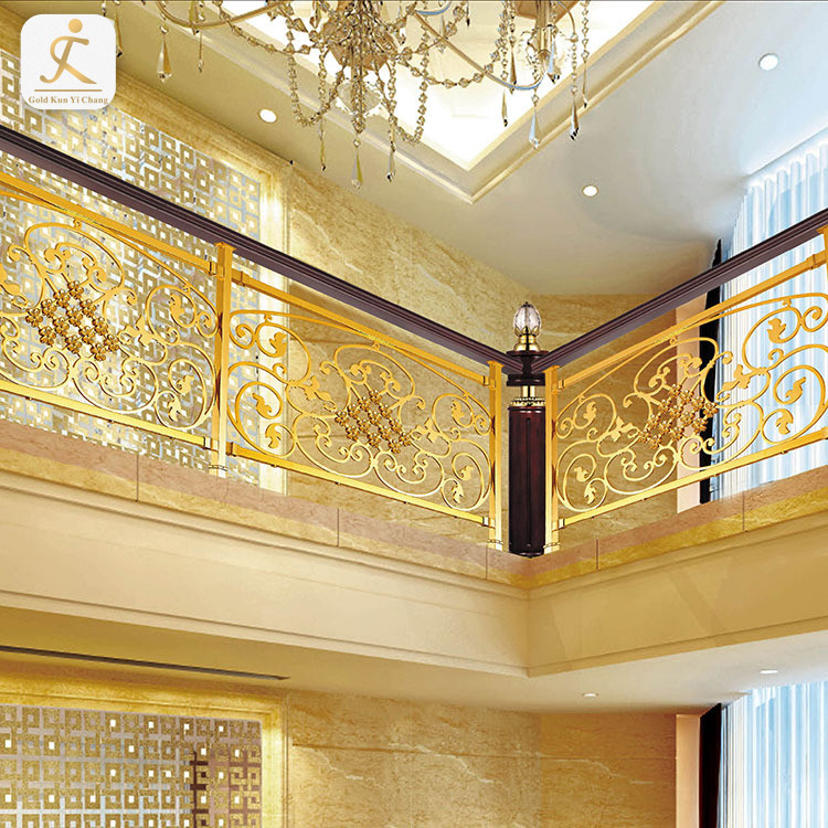 custom golden balcony stainless steel railing design laser cutting stainless steel railing designs for indoor balcony