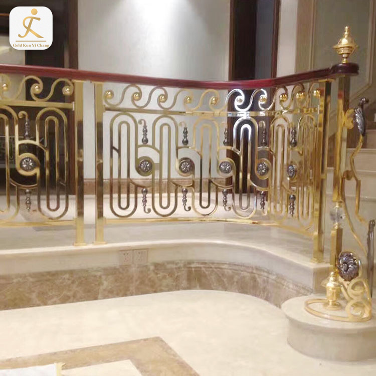 Steel Gold Color Stair Handrail Decorative Balustrade Stainless Steel Gold Stair Railing Colour Gold Stair Banister Handrail